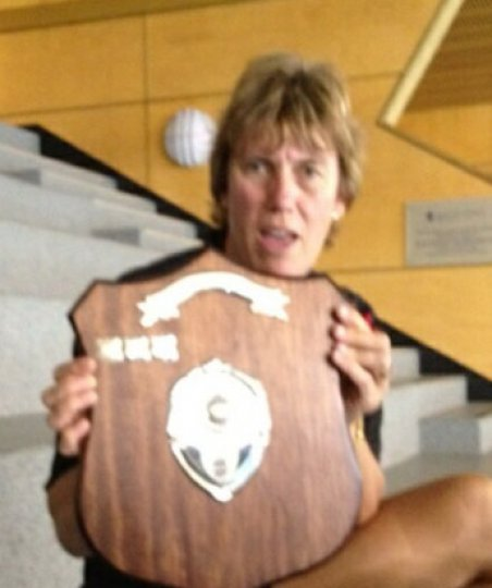 Linda Pye with National League Shield